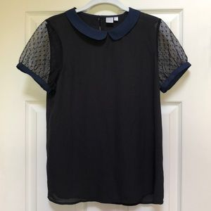 Black and Navy Short-Sleeved Blouse